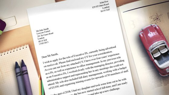 job cover letter template uk