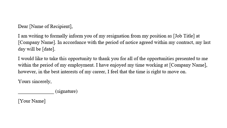 Good Resignation Letter Sample from www.reed.co.uk