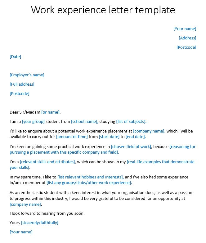 Work experience letter template reed spiritdancerdesigns Choice Image