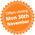 Offers closing Mon 30th November