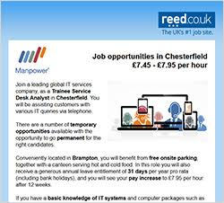 reed.co.uk solus email - branded email campaign for jobseekers
