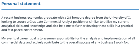 Graduate CV template – Personal Statement Examples for Resumes